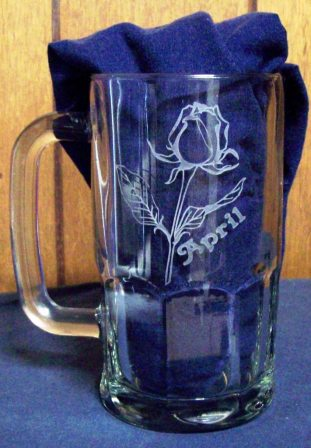 Etched beer mug with flower and name.