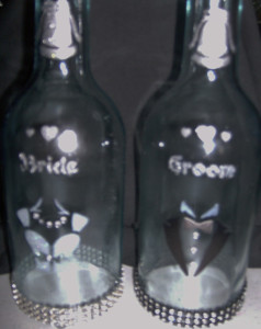 groom and bride themed bottles
