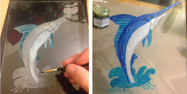 how to color glass etching